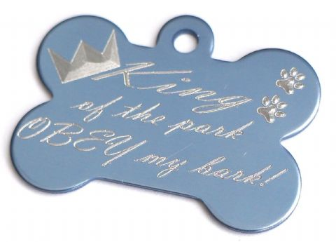 FUNNY DOG TAG PERSONALISED ENGRAVED BONE TAG KING OF THE PARK OBEY MY BARK